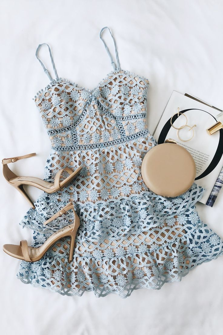 Lulus | Beauty and Lace Light Blue Crochet Lace Mini Dress | Size Large | 100% Polyester