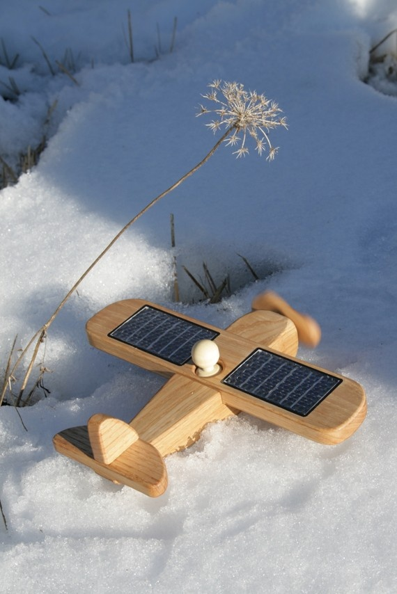 Solar powered wooden airplane toy!