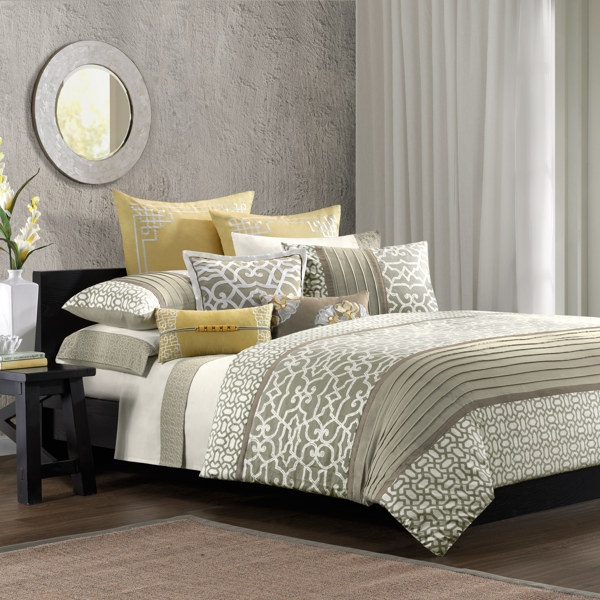 yellow and gray bedroom. I want this + some blue shades