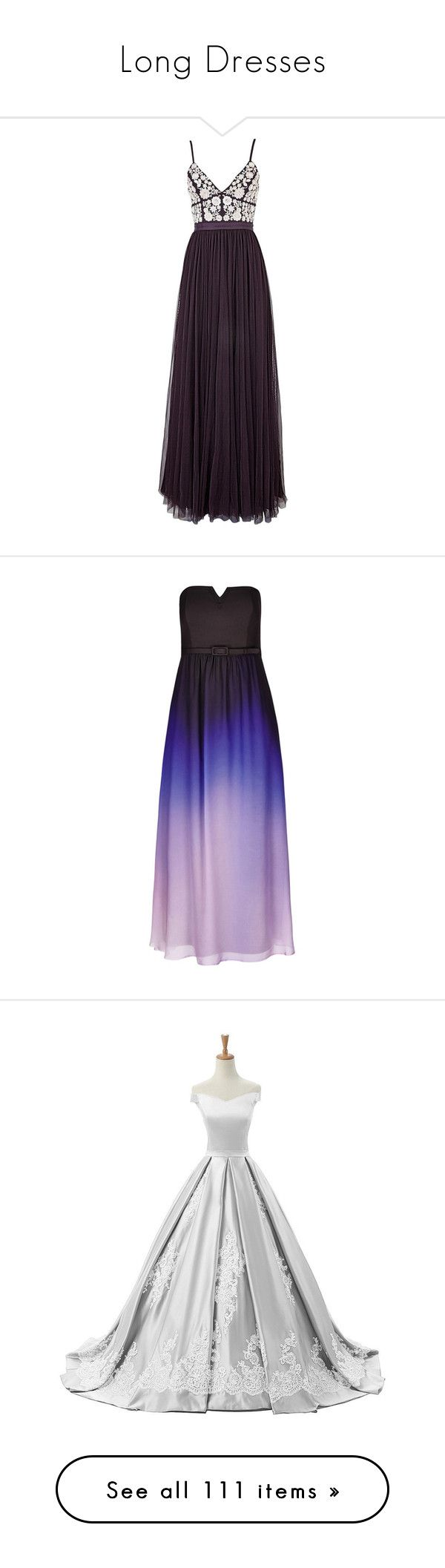 """Long Dresses"" by natalialovesnutella12 ❤ liked on Polyvore featuring dresses, gowns, fancy dresses, long dress, vestidos, long evening dresses, purple maxi skirt, fitted maxi skirt, tulle maxi skirt and sequin maxi skirt"
