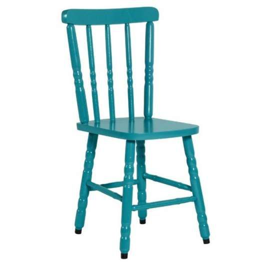 Cadeira Colonial Maciça Torneada Turquesa