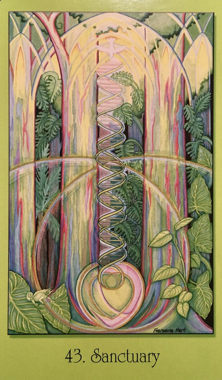 """March 23/2017 Daily Angel Oracle Card: Sanctuary, from the Sacred Geometry For the Visionary Path Oracle Card deck, by Francene Hart Sanctuary: """"Refuge and Renewal"""" """"This green cathedral is off…"""