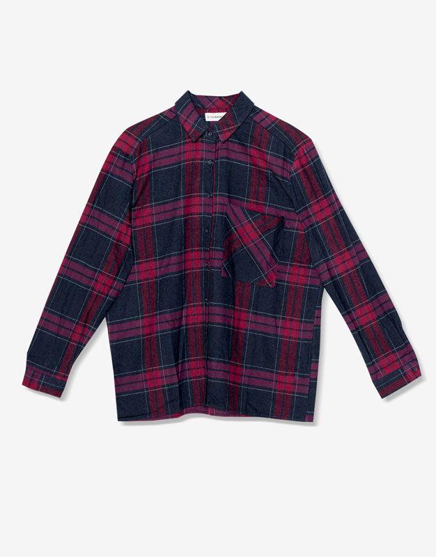 Flannel shirt navy burgundy Geruit overhemd - Blouses en hemden - Kleding - Dames - PULL&BEAR Netherlands