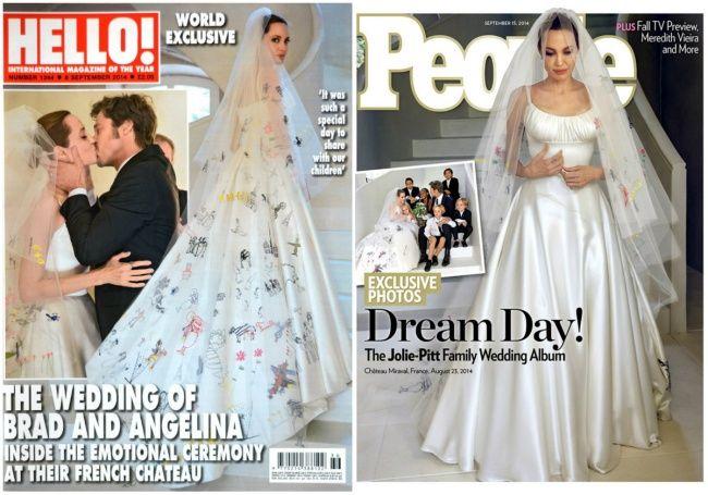 Анджелина Джоли   Наверное, это самая долгожданная свадьба минувшего десятилетия, слухи о которой ходили не один год. В 2014 году самая красивая пара Голливуда наконец отправилась под венец, а главную роль на торжестве играли дети пары. Именно их рисунки Анджелина попросила дизайнеров перевести на подол и фату платья — шелковый наряд от Версаче получился очень трогательным и, безусловно, уникальным.