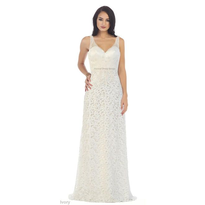 Designer FORMAL LACE EVENING GOWN SPECIAL OCCASION LONG DRESS SIMPLE WEDDING ATTIRE & PLUS SIZE