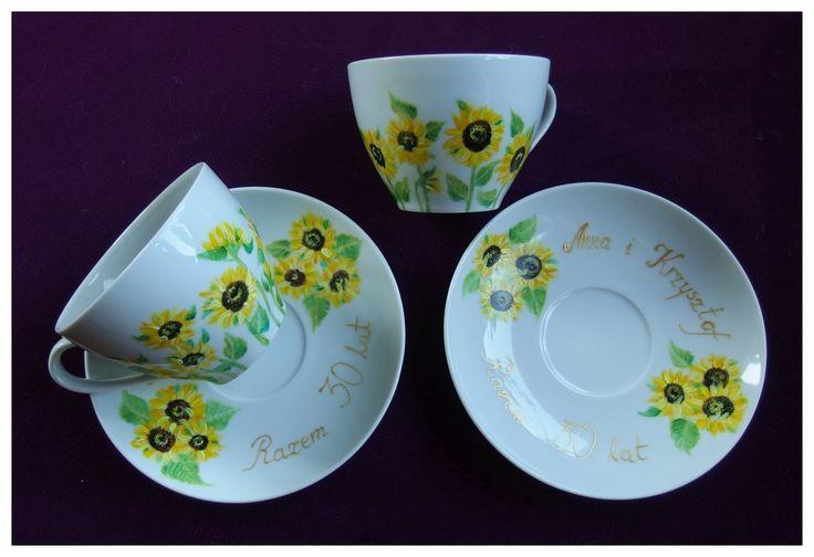 #xantosia #słoneczniki #sunflowers #helianthus #kwiaty #flowers #cup #mug #filizanki #liście #bloom #leaves #porcelan #ceramic #handpainted #reczniemalowane #porcelart #porcelainart #set #porcelainpainter #teatime #coffeetime #teacup #tea #coffee #design #decor #floral #art #gift