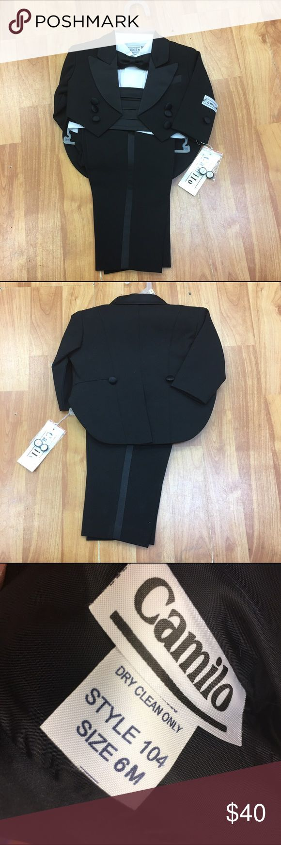 NEW NWT Camilo Black Tuxedo 6 Mo NEW NWT Camilo Black Tuxedo 6 Mo   Ohmygoodness, the cuteness.  Size is 6 mo.  Should fit 3-6 mo approximately.  Includes pants, tuxedo jacket with tails, cummerbund, bow tie and white pleated shirt.  Just adorable.  Great for wedding, cruise, etc.  #weddingattire #ringbearer #cruisewear #cruise #tuxedo #tux #dressup #dapper #littlegentleman, #black #tails #blacktie #babytux Camilo Matching Sets