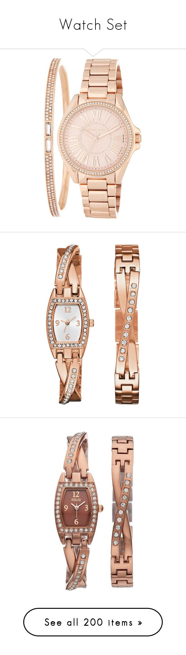 """Watch Set"" by lence-59 ❤ liked on Polyvore featuring jewelry, watches, rose gold, michael michael kors, stainless steel wrist watch, bangle watch bracelet, stainless steel bangle bracelet, stainless steel jewelry, watch charm bracelet and engraved heart charm"