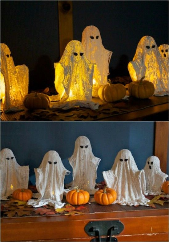 You can really spook up your porch with a few small ghosts made from cheesecloth. Make them whatever size you need and if you want something great for a foyer table, these work well.