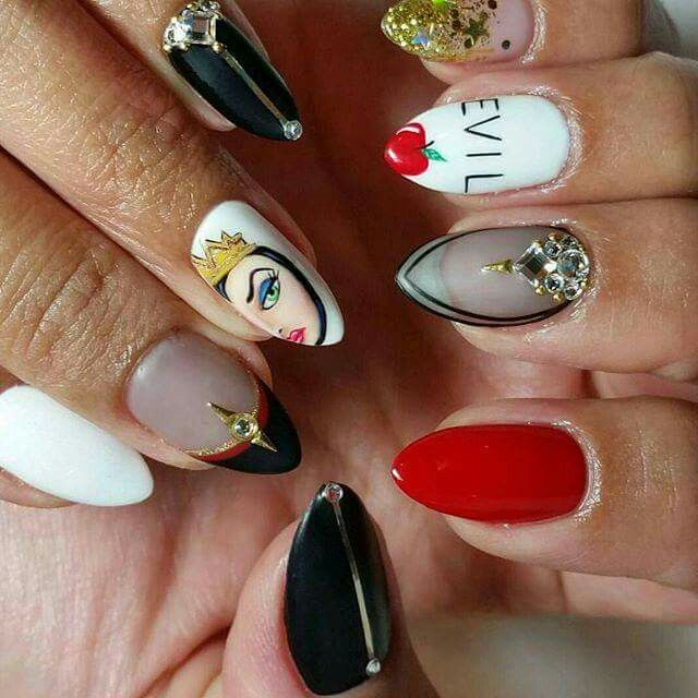 Snow White Evil Queen nail art