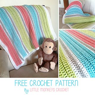 COLOR IDEA:  Looking for that perfect baby shower gift? This baby blanket is simple and soft, but makes a modern statement with its bold colors and ribbed lines. If you can do a double crochet, you can make this blanket, and you'll be the talk of the baby shower!