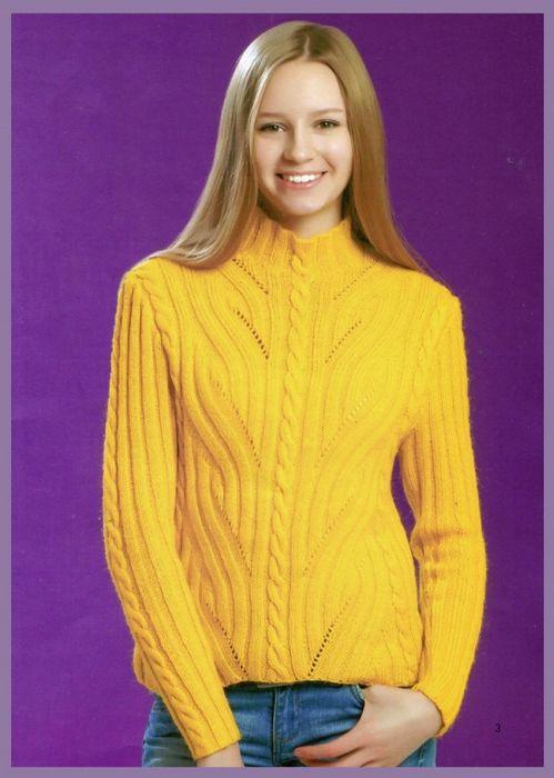Озорные петельки: Пуловер с красивым узором для женщины