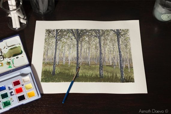 Birches trees painting trees painting birch forest di AsmothDaeva