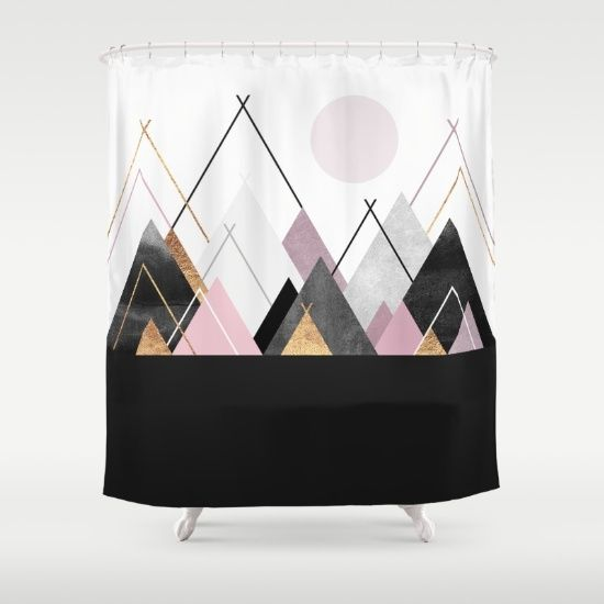 Nordic+Mountains+Shower+Curtain+by+Elisabeth+Fredriksson+-+$68.00