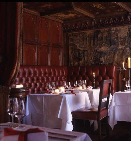 The Witchery restaurant - tufted red leather