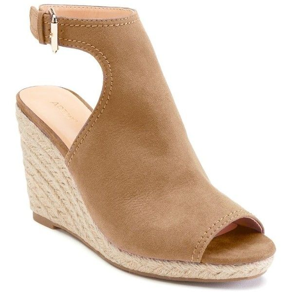 Apt. 9® Ecstatic Women's Espadrille Wedge Sandals ($30) ❤ liked on Polyvore featuring shoes, sandals, lt brown, elastic wedge sandals, brown sandals, wedge sandals, ankle tie wedge espadrilles and wedge shoes