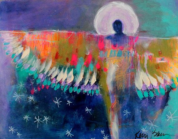 "Small Abstract Angel Figure Painting, Colorful Outsider Art, Modern, ""Healing Wing"" 11x14"" Free Shipping by Kerri Blackman"