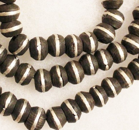 African Ebony Wood Beads Made in Mali 16  Ethnic by ColorSquare