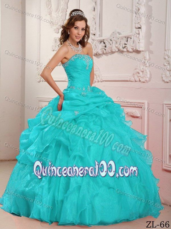 Turquoise Quinceanera Dresses Beading Ruffles for 16th Birthday