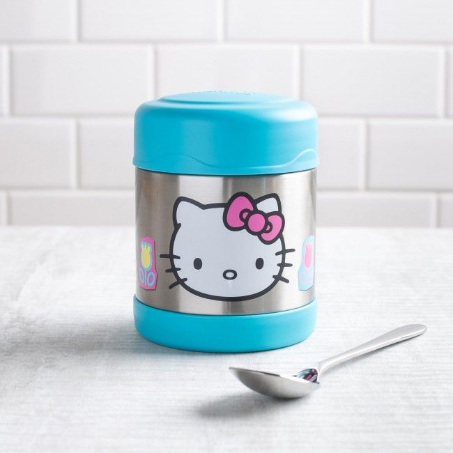 Hi, Howdy and Hello Kitty! The Thermos double wall stainless steel vacuum insulated construction ensures maximum temperature retention for hot or cold food. With a twist on lid and wide mouth opening the funtainer is easy to fill but won't accidentally spill in your lunch bag!