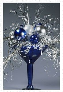 Christmas Festive! How easy is this, just take a large glass and fill with christmas decorations!