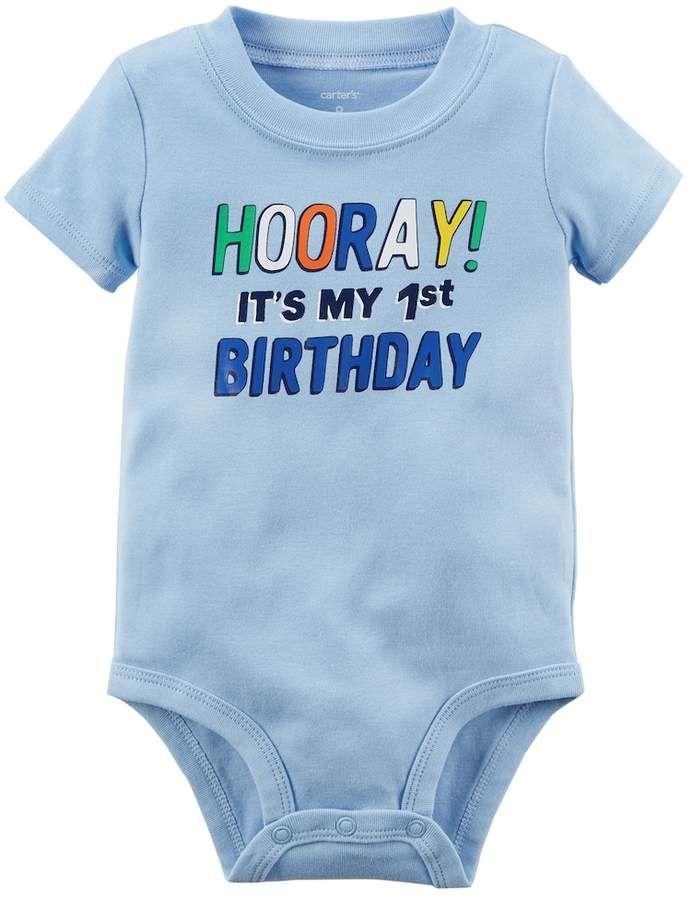 Carters Baby Boy Hooray Its My 1st Birthday Graphic Bodysuit