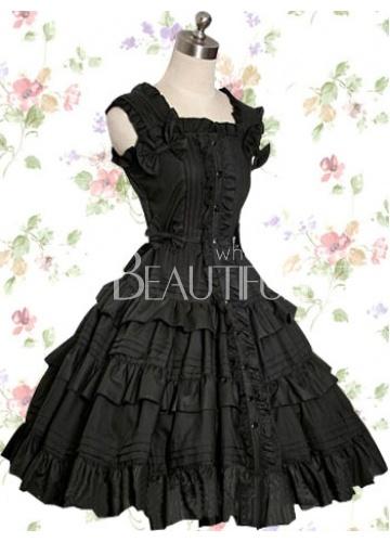 Robe Noire Lolita Gothique de Coton