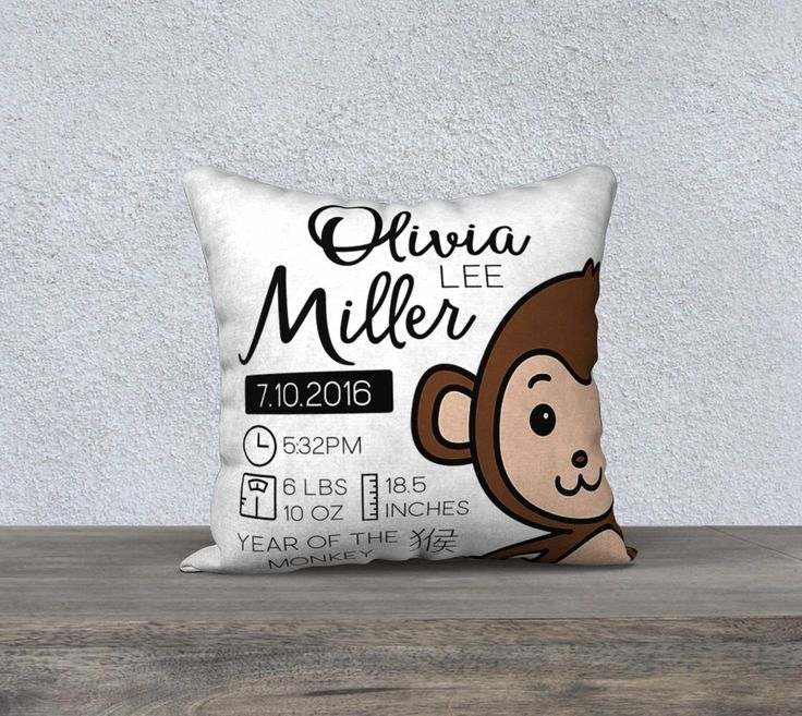 "Personalized Year of the Monkey Baby Birth Announcement Pillow Case 18""x18"" 