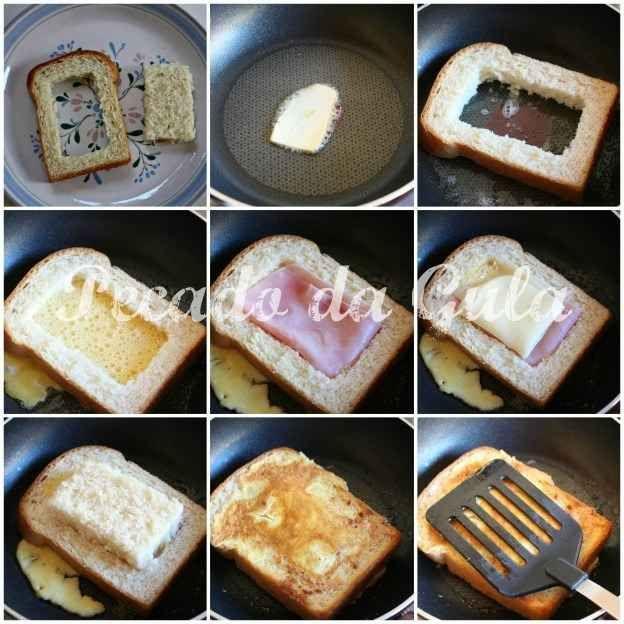Torrada com queijo, presunto e ovo dentro.