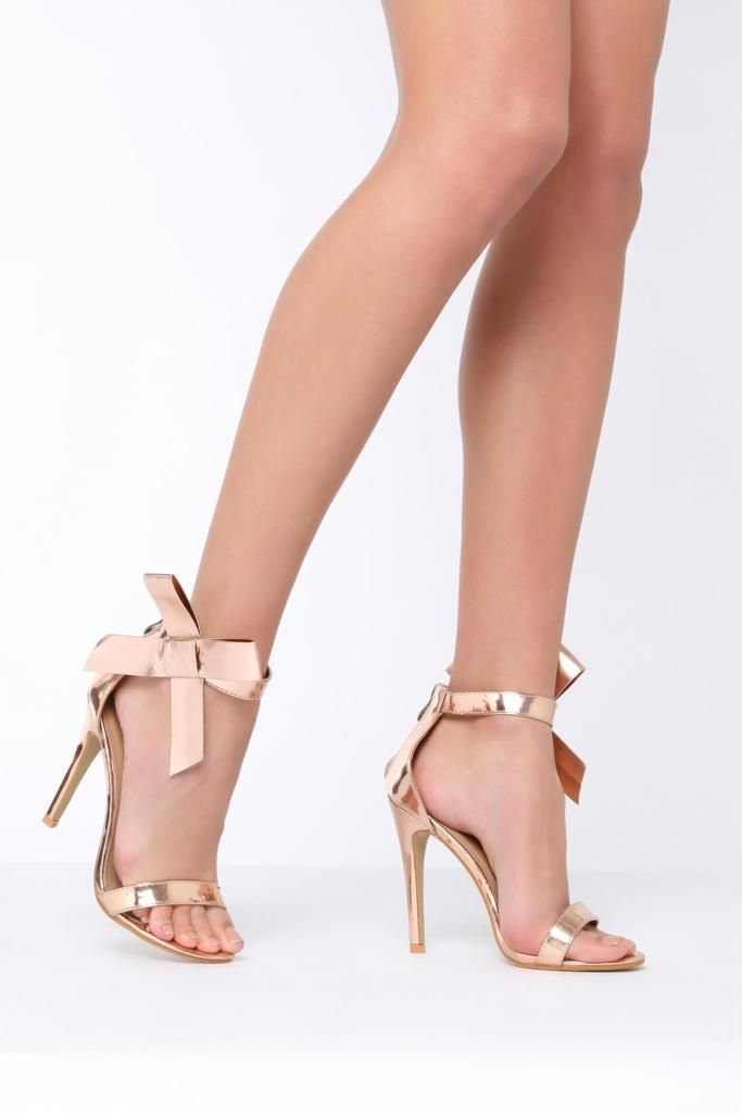ROSE GOLD METALLIC BARELY THERE STRAPPY SANDALS PEEP TOES HIGH HEELS SHOES SIZE