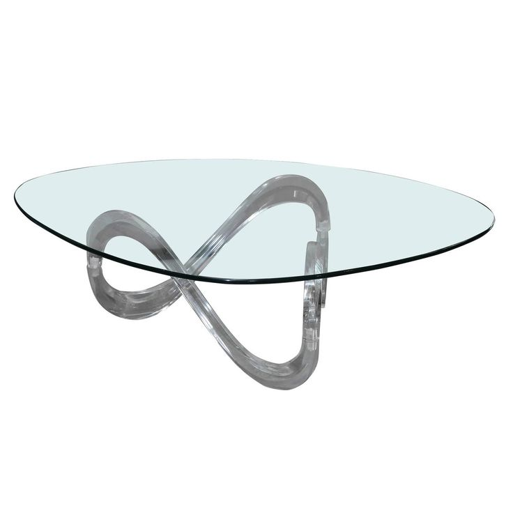 Modernist Sculptural Lucite Base and Glass-Top Coffee Table | From a unique collection of antique and modern coffee and cocktail tables at https://www.1stdibs.com/furniture/tables/coffee-tables-cocktail-tables/