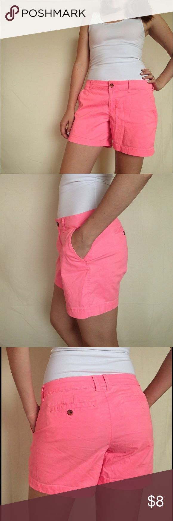 Old Navy neon pink shorts Bright pink shorts, cute, casual, and comfy, excellent for warm weather. Mid-thigh . Tag says 6, but I'm a 6 and they were always kind if loose on me ✨measurements upon request✨ Old Navy Shorts