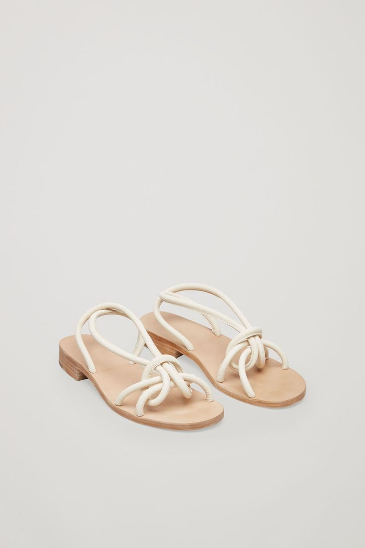 Knotted strap sandals in Cream