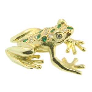 18ct Yellow Gold Emerald & Diamond Frog Brooch made by Peter Cameron