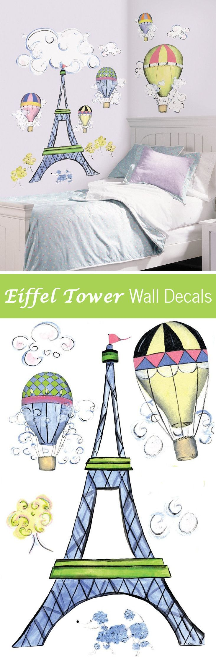 A cute and easy way to decorate a teen or preteen girls bedroom. Paris Eiffel Tower theme