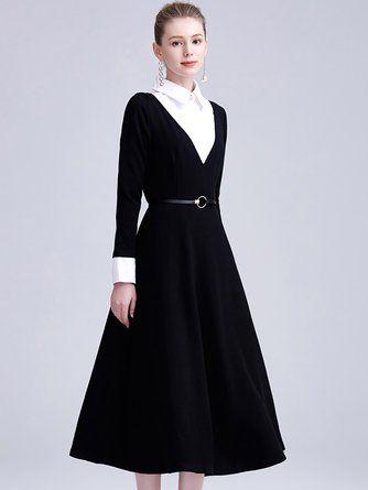 90e0d3ecab8 Shirt Collar A-Line Paneled Solid Dress