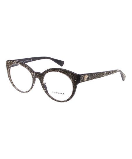 e9888b76a4 Black   Gold Glitter Round Eyeglasses