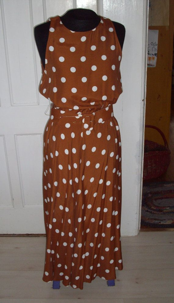 Vintage Dress Brown And White Polka Dot Pretty By