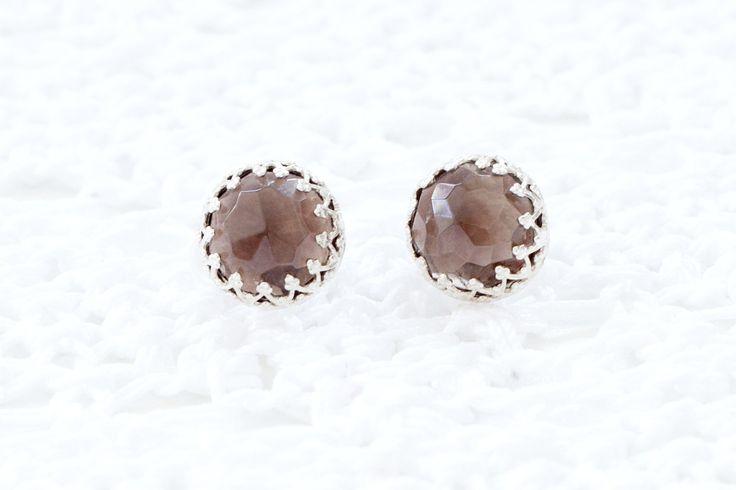 #Earrings, #Jewelry, #Stone Mystic Smoky Topaz silver crown round studs by ShelyJewellery - http://www.judaic-jewelry.com/earrings/mystic-smoky-topaz-silver-crown-round-studs-by-shelyjewellery.html