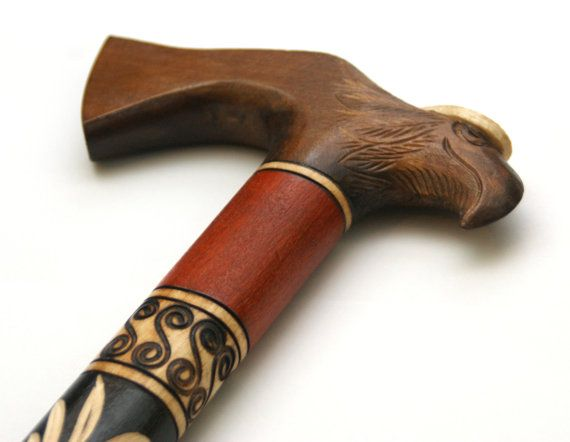 Eagle wooden walking cane hand carved wooden by PoshCraftPoland
