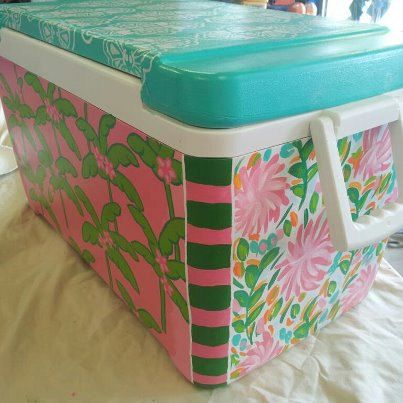 DIY:: Two dollar Cooler Upcycled !!  I never considered painting a cooler.  Neat!