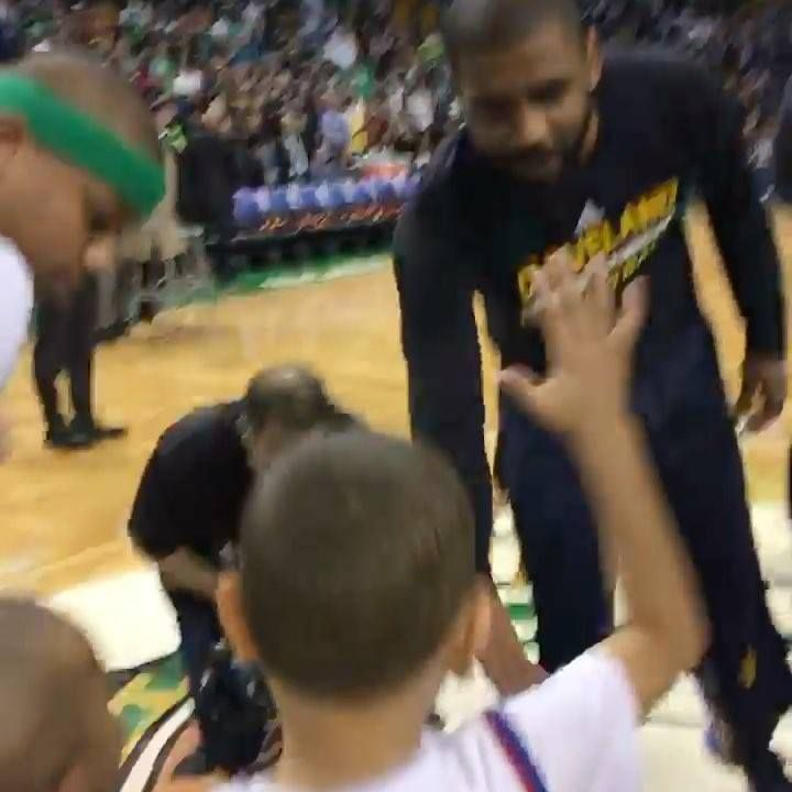 Isaiah Thomas's sons say hi to LeBron James & Kyrie Irving prior to Boston Celtics-Cleveland Cavaliers! #ThisIsWhyWePlay