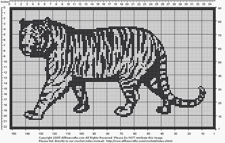 Filet Crochet Tiger - My husband would love this!
