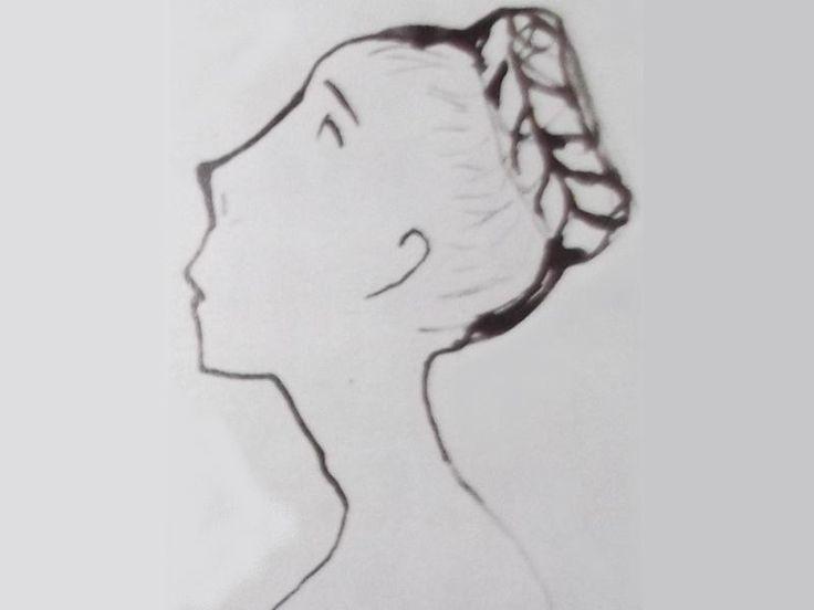 """Ce détail d'un dessin de Victor Hugo représente une tête de jeune femme aux cheveux tressés en nattes relevés en chignon - Lié au poème """"Ô souvenirs ! printemps ! aurore !..."""", du recueil """"Les Contemplations"""", de ce même Victor Hugo."""