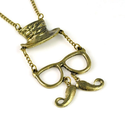 Fashion Mens Face with Glass, Beard, Hat Antique Bronze Chain Necklace, NL-1901