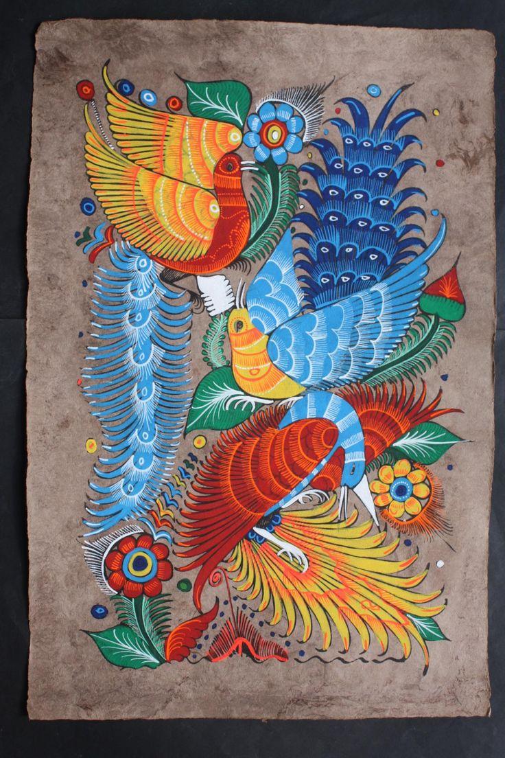 Mexican painting of birds flowers latin folk art craft for Folk art craft paint