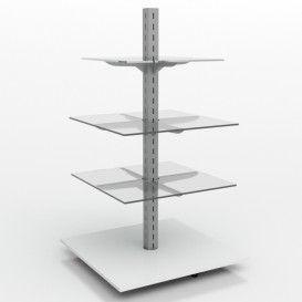 Τετράγωνη Γόνδολα Ράφια Κρύσταλλο Δείτε το :: http://goo.gl/H633GW  Τετράγωνη γόνδολα με μεταλλική κολώνα, καπάκι στο κάτω μέρος από μελαμίνη και τρία (3) ράφια από διάφανο κρύσταλλο σε στηρίγματα που ρυθμίζονται ελεύθερα.