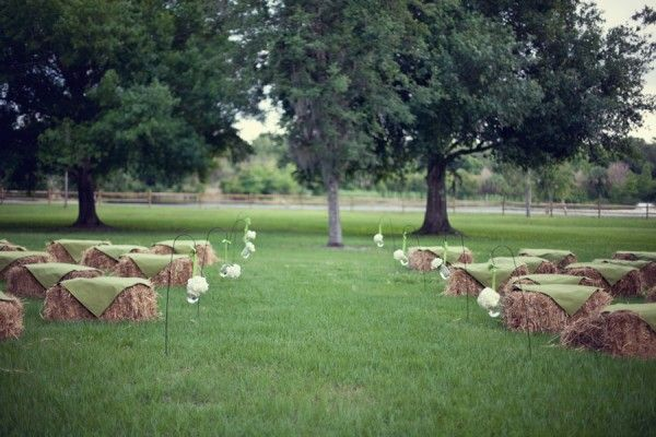 straw bales as seating for the ceremony.