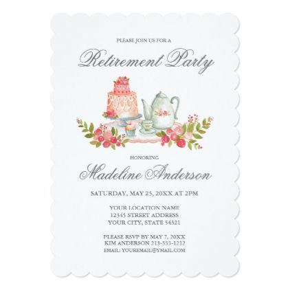 Retirement Party Silver Script Invitation S - script gifts template templates diy customize personalize special