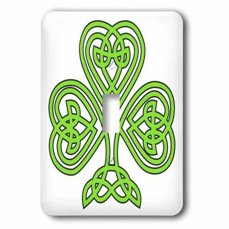 3dRose Celtic Shamrock, Double Toggle Switch